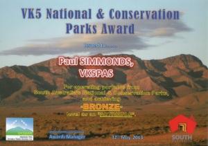 VK5 Nat & Cons Parks Award = Bronze