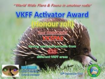VKFF Activator Honour Roll 125