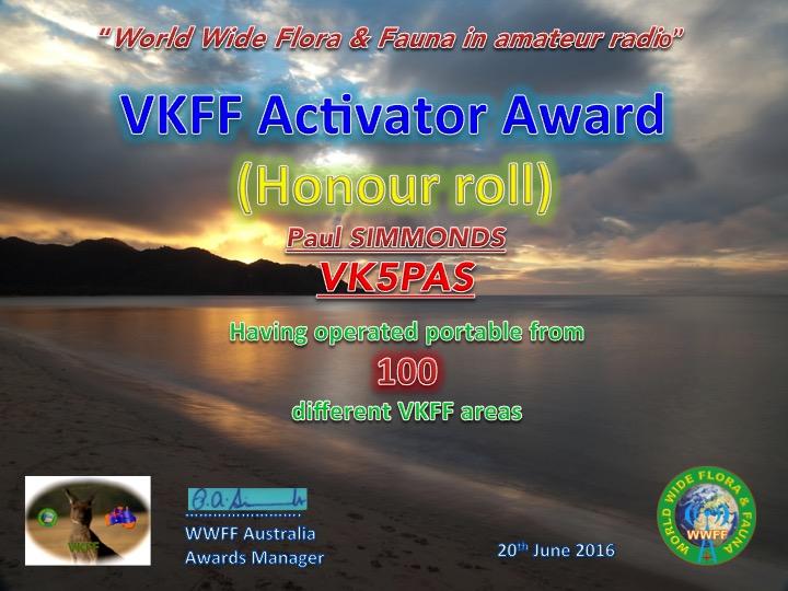 VK5PAS VKFF Honour Roll 100 Activator