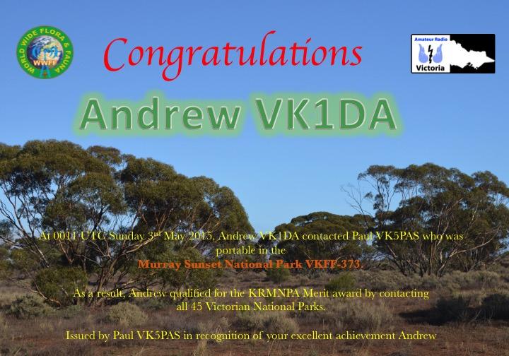 VK1DA KRMNPA certificate