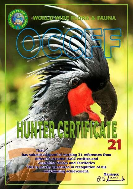 Diploma OCCFF Hunter 21