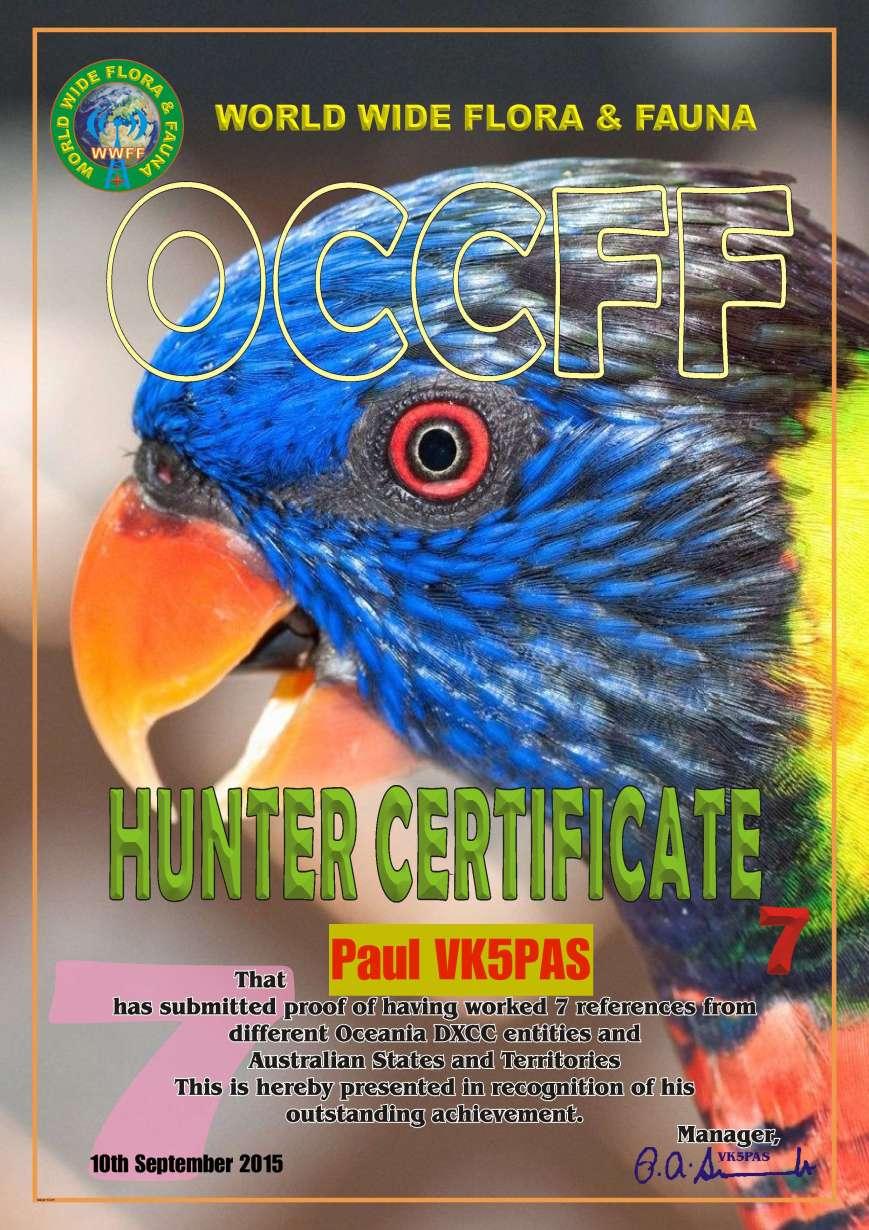 VK5PAS Diploma OCCFF Hunter 7