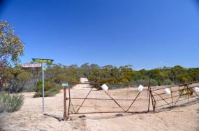 The gate at the Scorpion Springs boundary fence
