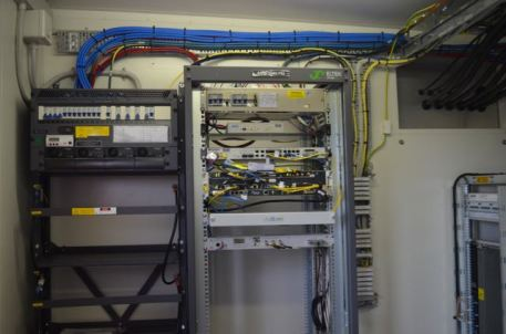 Inside one of the telecommunications buildings