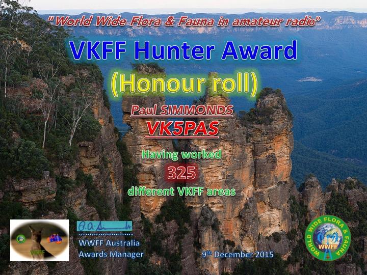 VK5PAS VKFF Hunter Honour Roll 325