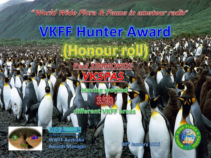 VK5PAS VKFF Hunter VKFF Honour Roll 350