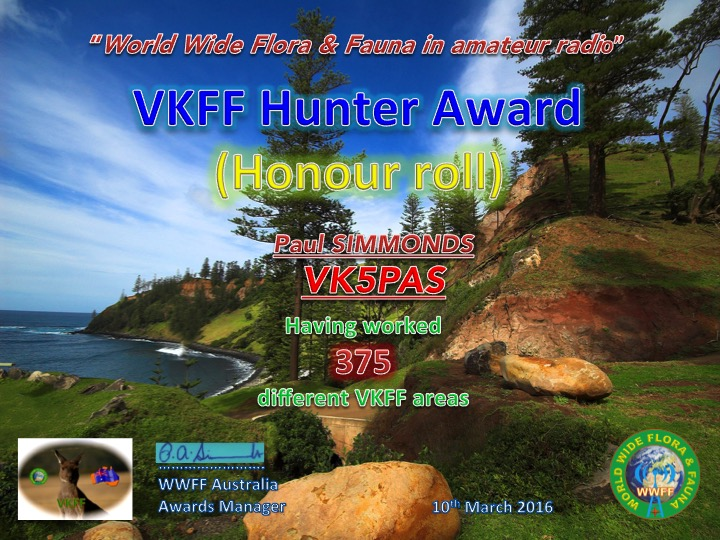 VK5PAS VKFF Hunter Honour Roll 375