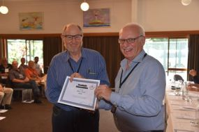 Ron VK3AFW being presented an award