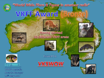 VK5WOW Bronze VKFF Hunter