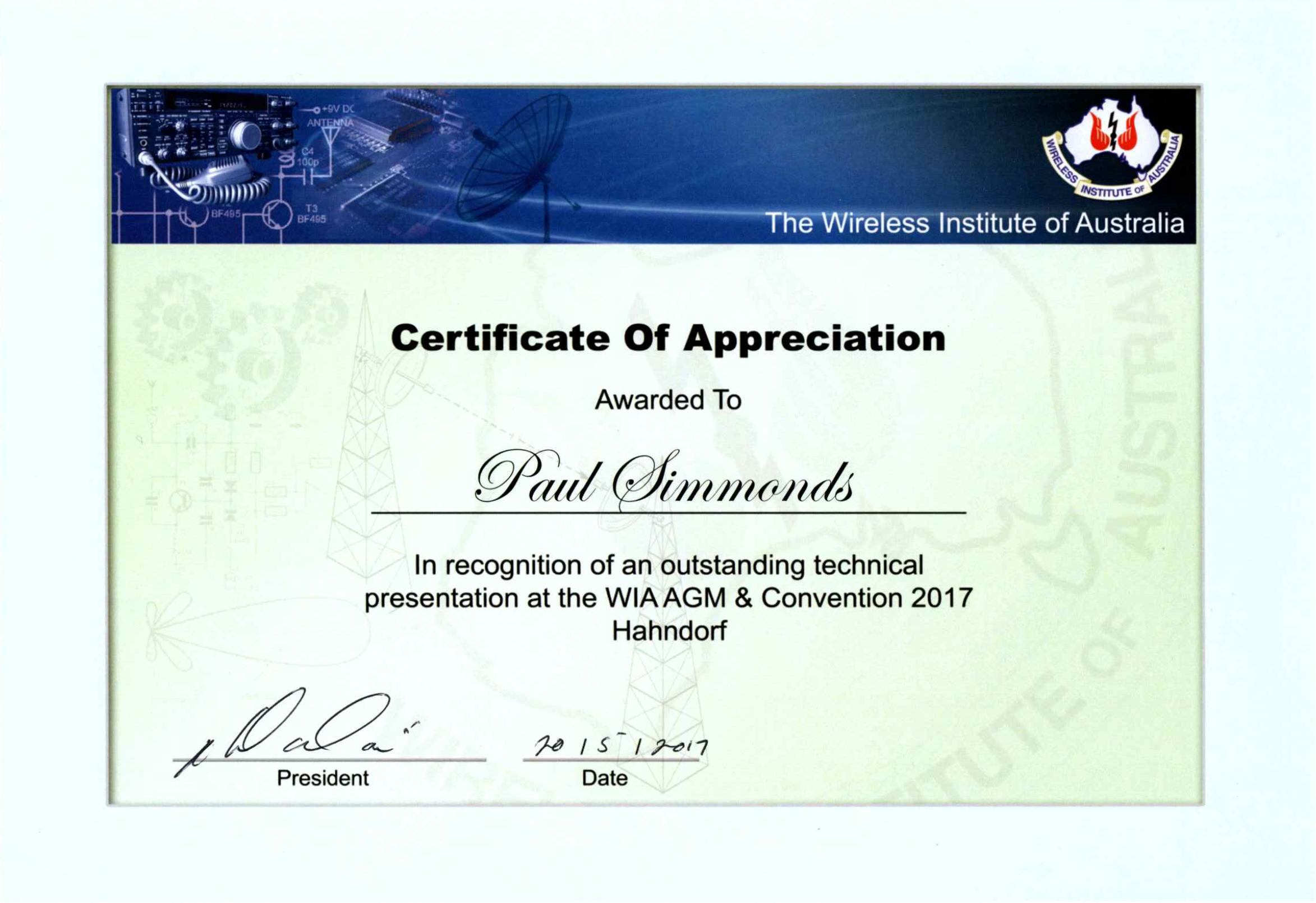 certificate of appreciate