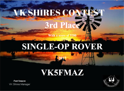 VK5FMAZ 2017 VK Shires 3rd place