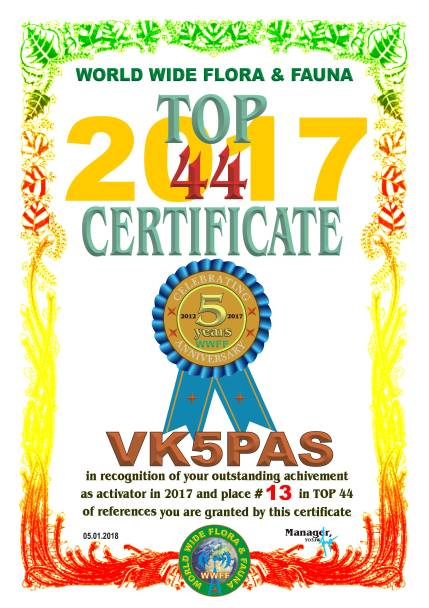 VK5PAS TOP 44 2017 REFERENCES