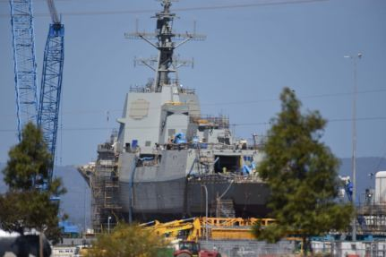 Hobart Class destroyer under construction at the ASC