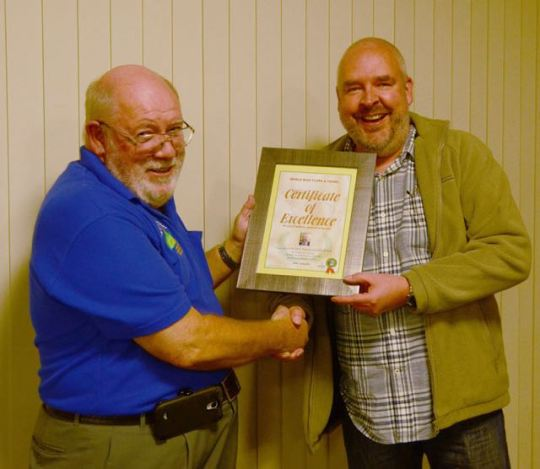 AHARS President Barry VK5BW presenting me with the certificate