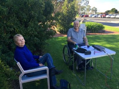 Larry on air at Hampstead Rehab Centre, being watched on by his wife Di