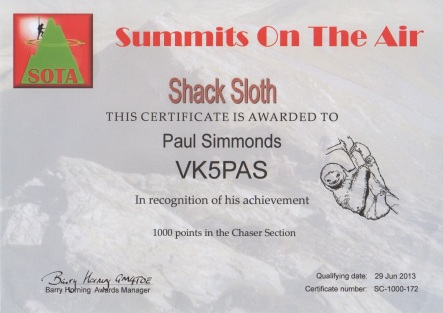 Shack Sloth certificate