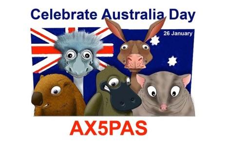 My AX5PAS Australia Day QSL card