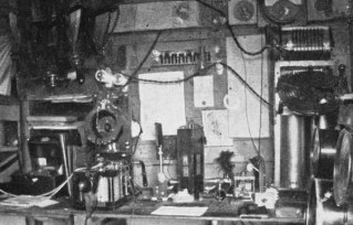 1912 radio shack on the island, with 1.5 kW spark gap transmitter