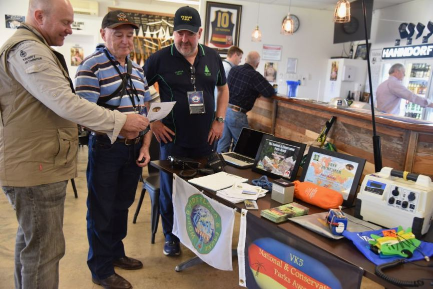 With Chris VK5FR and an interesting onlooker at our display table