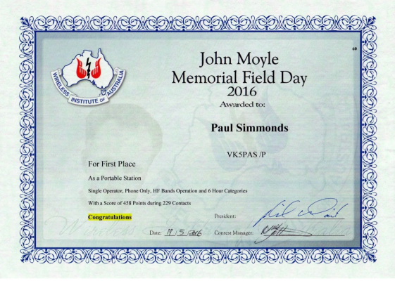 My 1st place certificate