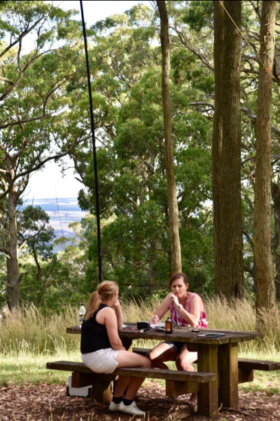 Marija on air at Mt Buninyong being watched on by Olivia