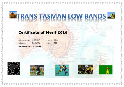 Trans Tasman certificate