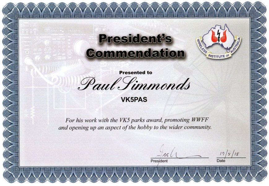 WIA Commendation