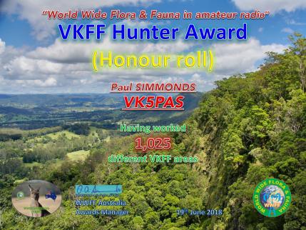 VK5PAS 1,025 VKFF Hunter Honour Roll