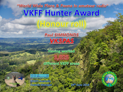 VK5PAS 1,025 VKFF Hunter Honour Roll