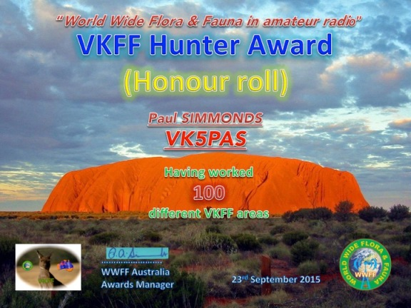 VK5PAS VKFF Hunter Honour Roll 100