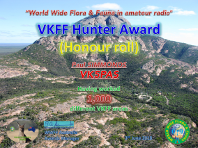 VK5PAS VKFF Hunter Honour Roll 1000