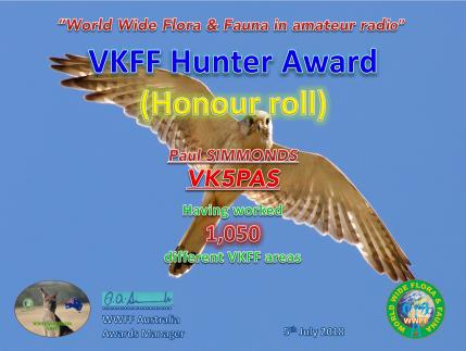VK5PAS VKFF Hunter Honour Roll 1,050