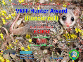 VK5PAS VKFF Hunter Honour Roll 1,100