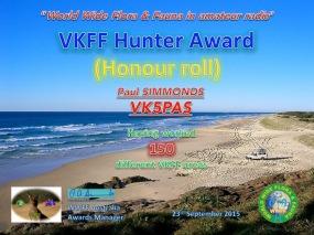 VK5PAS VKFF Hunter Honour Roll 150