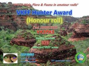 VK5PAS VKFF Hunter Honour Roll 175