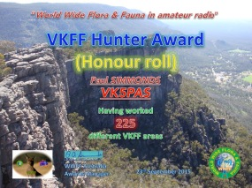 VK5PAS VKFF Hunter Honour Roll 225
