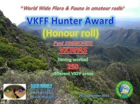 VK5PAS VKFF Hunter Honour Roll 250