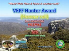 VK5PAS VKFF Hunter Honour Roll 275 copy