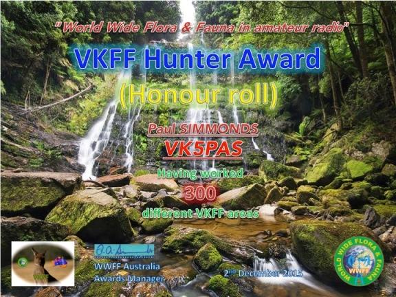 VK5PAS VKFF Hunter Honour Roll 300