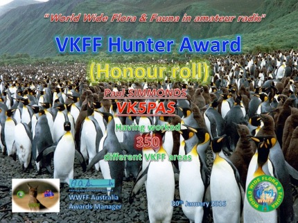 VK5PAS VKFF Hunter Honour Roll 350