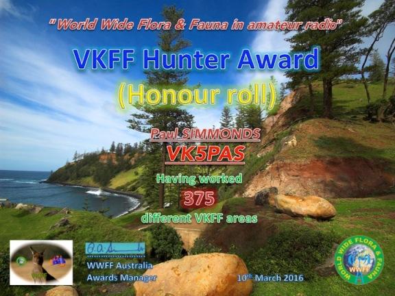 VK5PAS VKFF Hunter Honour Roll 375