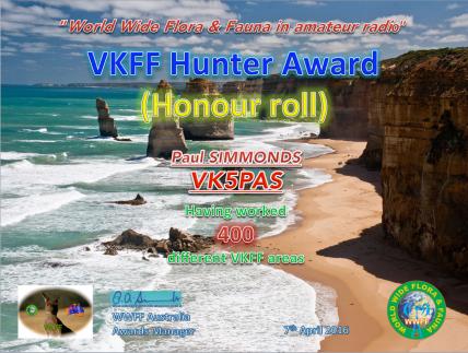 VK5PAS VKFF Hunter Honour Roll 400
