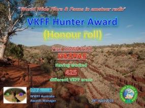 VK5PAS VKFF Hunter Honour Roll 425