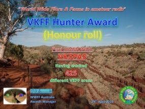 VK5PAS VKFF Hunter Honour Roll 425