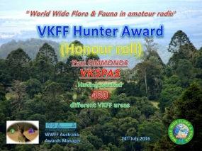 VK5PAS VKFF Hunter Honour Roll 450