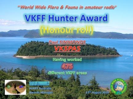 VK5PAS VKFF Hunter Honour Roll 475