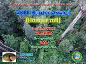 VK5PAS VKFF Hunter Honour Roll 500