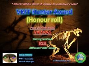 VK5PAS VKFF Hunter Honour Roll 525