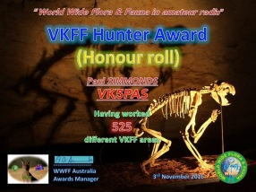 VK5PAS VKFF Hunter Honour Roll 525
