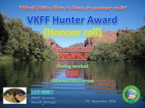 VK5PAS VKFF Hunter Honour Roll 550